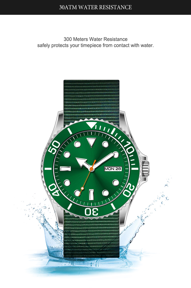 Custom OEM Luxury Vintage Rotatable Automatic Mens Luminous 300m Diver Watch Nh35 Sapphire Men Sport