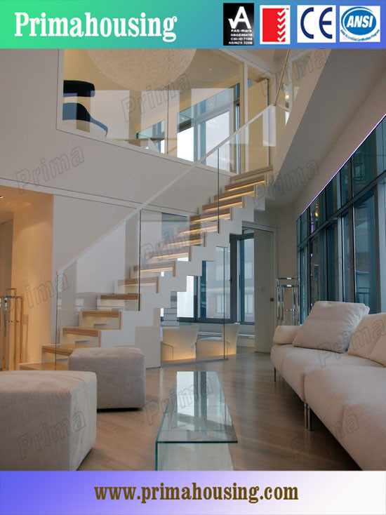 Laminated Glass Railing Wood Stairs With Center Carbon Steel Beam ...