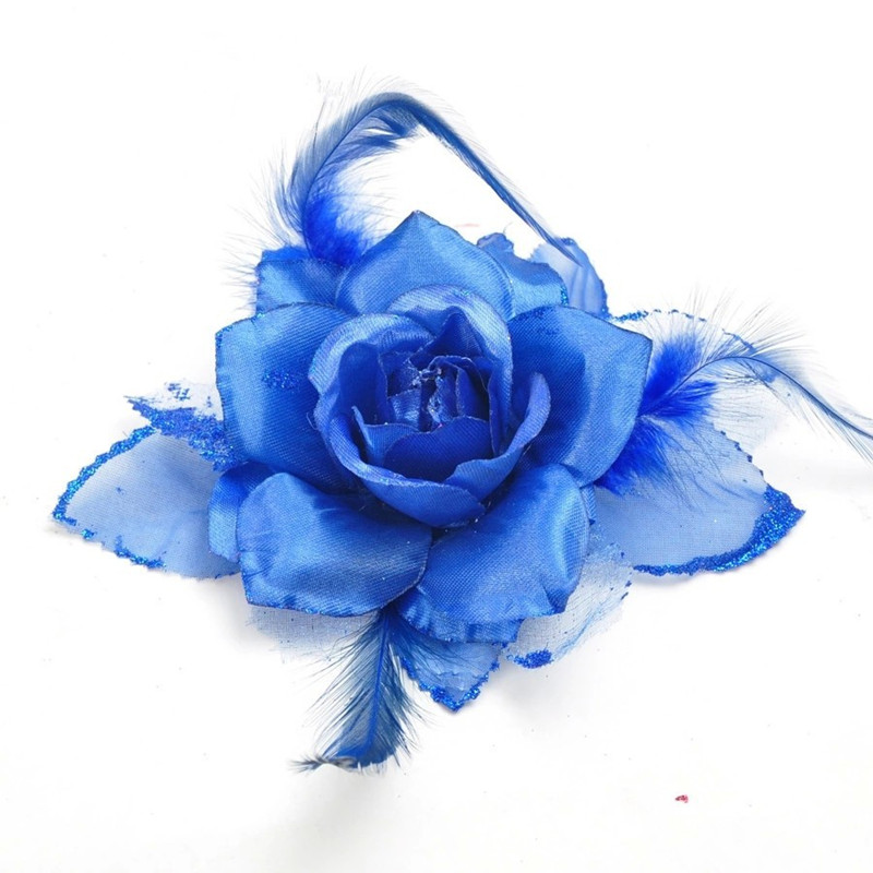 Hot - High Fashion Laser Crafts Party Supplies Indoor Christmas Tree Decoration Ornament 20cm Blue Christmas Flower