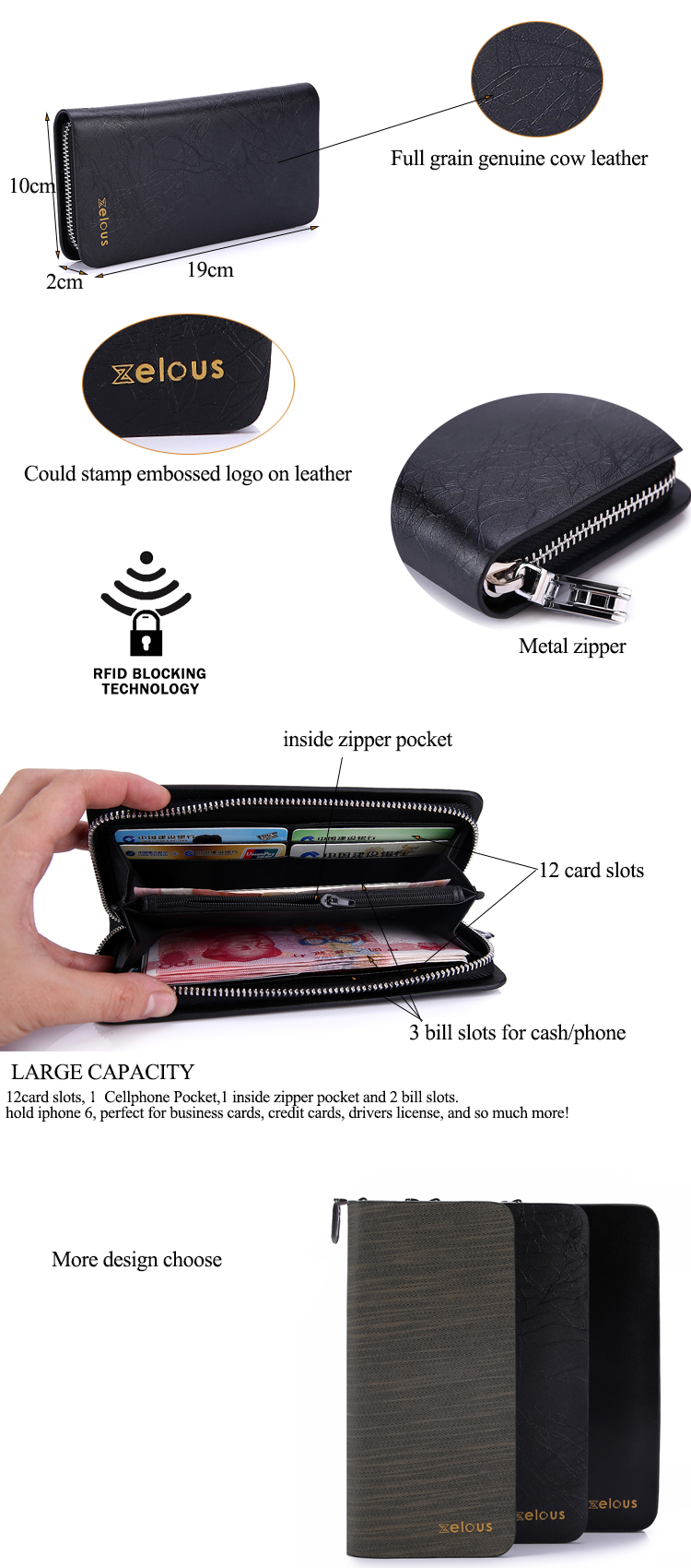 Full grain genuine leather unique metal RFID mens long credit card wallet with 12 card slots 3 cash holder 2 receipt pocket