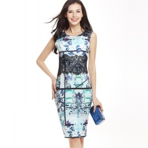 hot sale pink lady lace print pencil dress