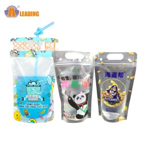 Plastic Beveragereusable Kids Snack Zip Lock Juice Drink Ziplock Bag Straw Pouch With Zipper