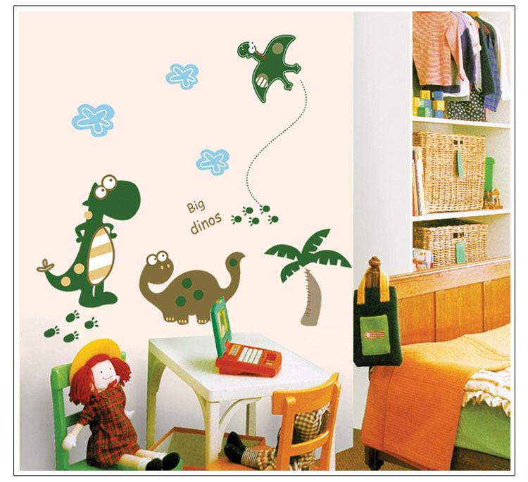 Kids bedroom wall decor,cartoon big dinos waterproof wall stickers,house art decals,background wall murals,baby design decor