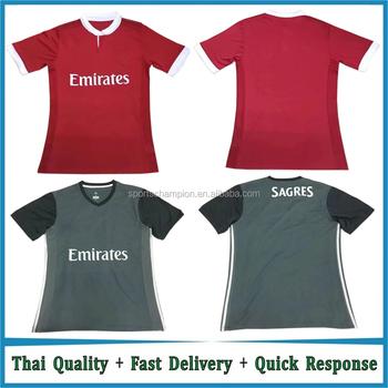 02c70a4a7 Thai quality Custom 2017 2018 home red Soccer Jersey away black futebol  Jersey