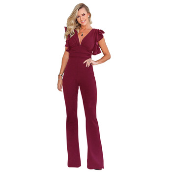 01f816f23a Women long sexy ruffles v neck wine red 4 color maxi jumpsuit romper with  zipper
