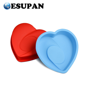 BPA Free Large Size Heart Shape Flexible Silicone Cake Baking Molds