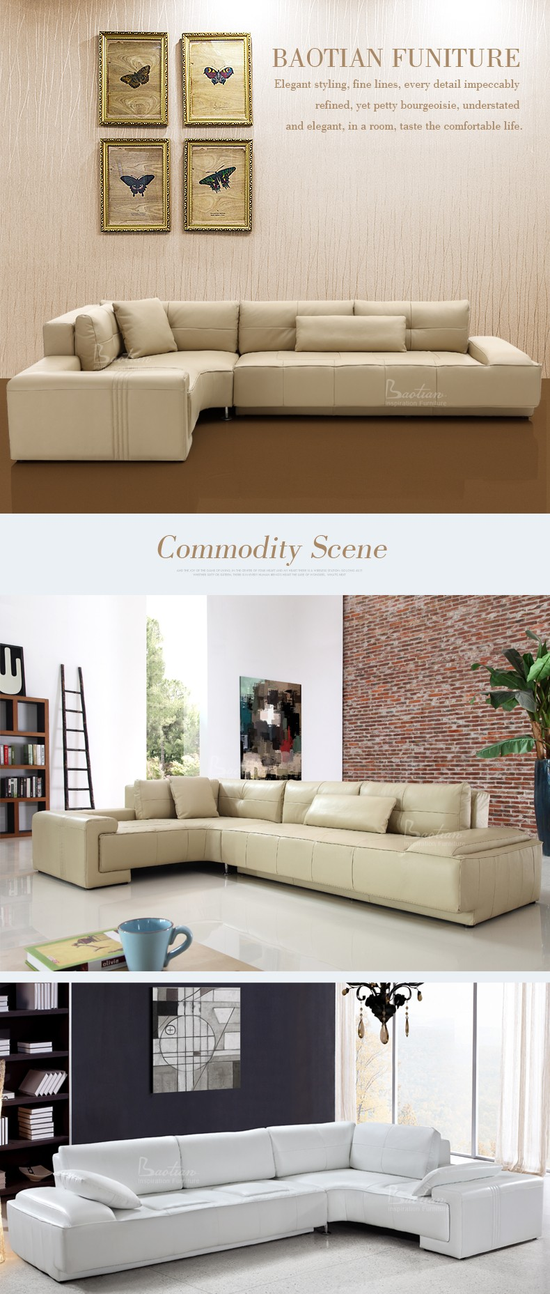 Greece Style Leather Sectional Sofa For Home Ethiopian Furniture ...