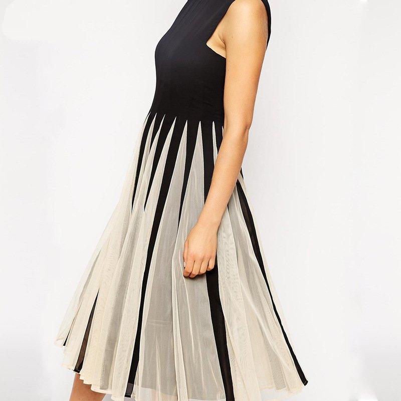 Платье свободного покроя без рукавов лето, 15m008 * женщины Vestidos Femininos черный хлопок пэчворк винтажный платья Vestido де феста