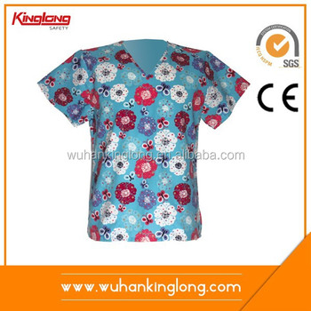 Made in China Hight Quality New Design European Women Nurses Printed Top Scrubs