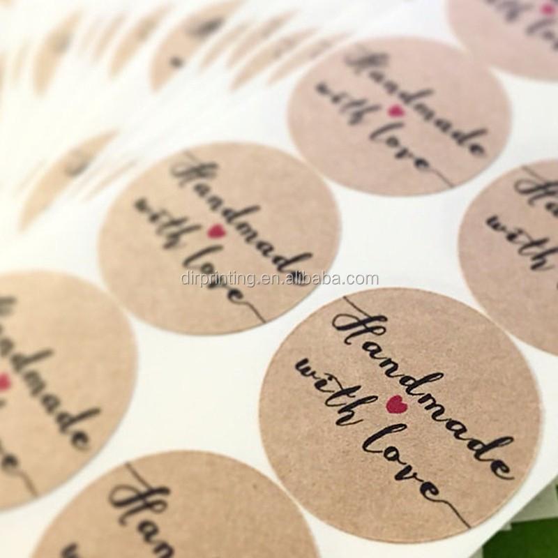 Custom die cut heart shape wedding labelshandmade kraft paper sticker