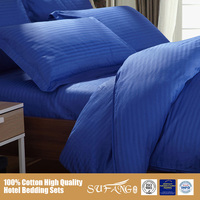 King Queen Double Size Hotel Use Bedding Sets/ Blue Color Satin Duvet Cover Set