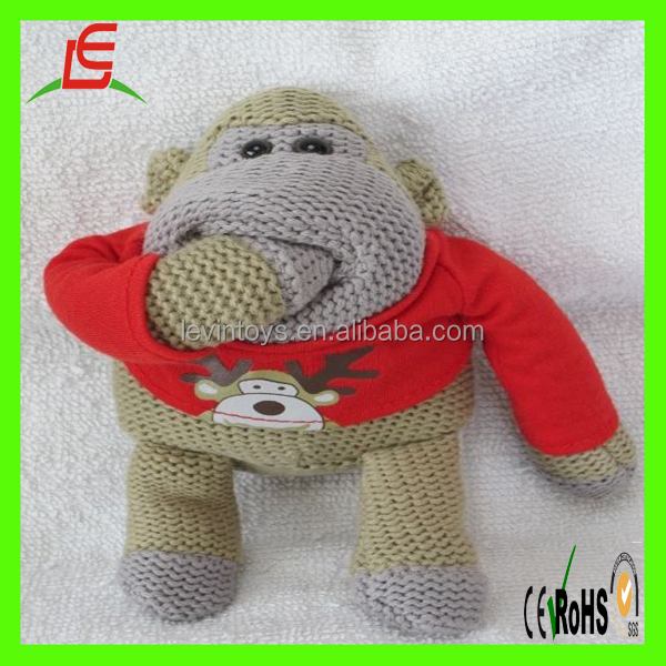 Christmas Chimp Soft Beanie Knitted Toys Sock Monkey