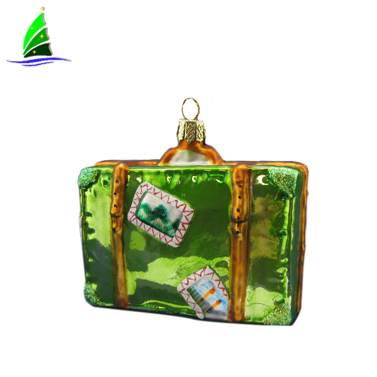 Artdargon glass suitcase pendant handmade,Christmas hanging suitcase ornament decoration