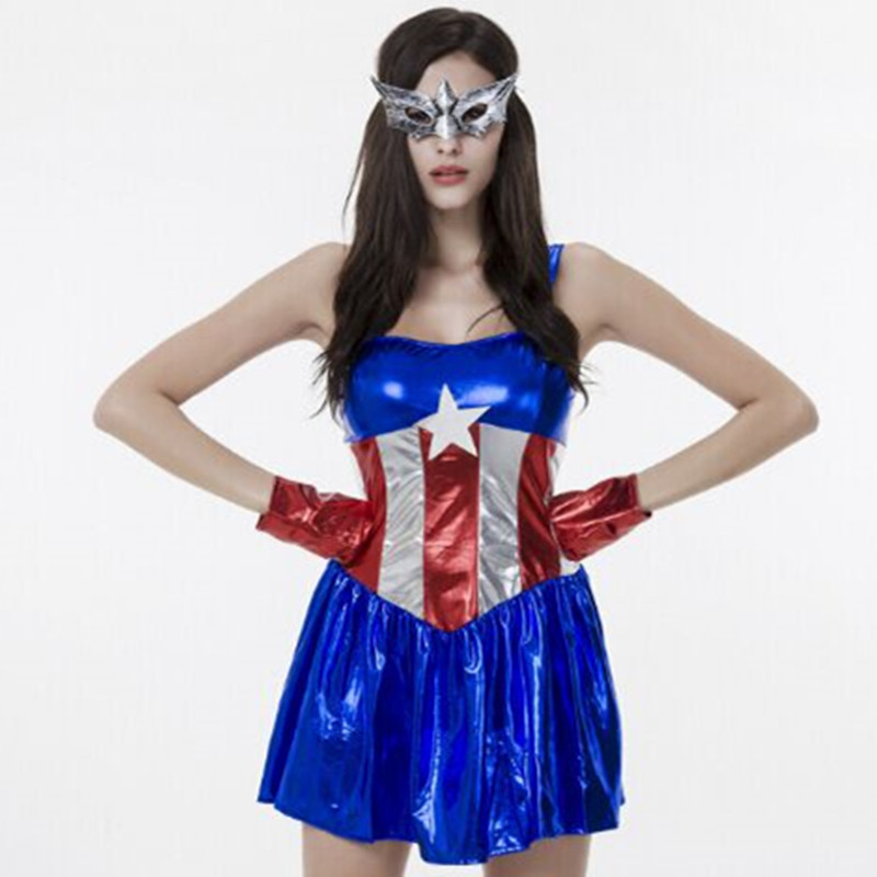 get quotations 72842 film costumes superhero costumes 2015 halloween all saint day captain america sexy lady party dress