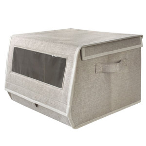 Fabric Stackable Cardboard Window Storage Box with a Clear Window for Closet Storage