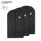 Mergeboon 3pcs 128x60cm Dustproof eco friendly cloth garment bag Dress Suit Covers with Shoe Bag