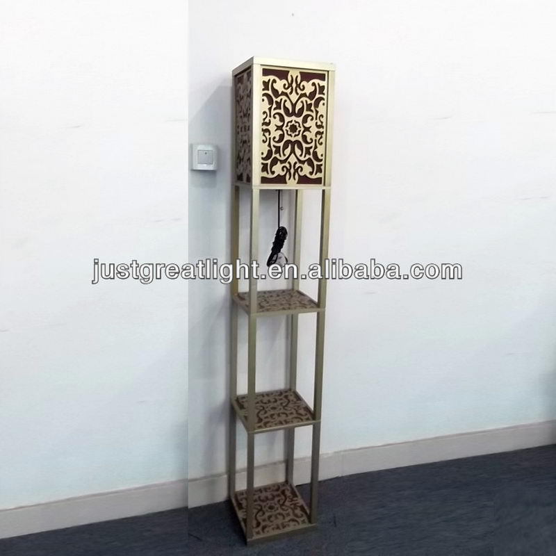 Silver wood etagere floor lamp standing for hotel