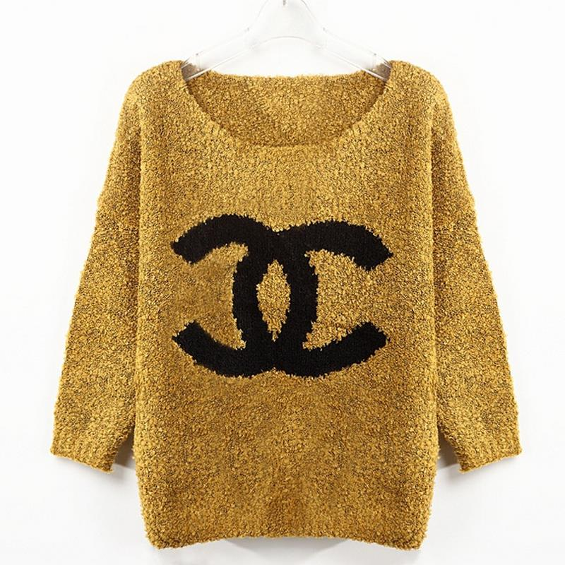 Pattern Womens Jumpers Yellow  Womens Sweaters Fashion 2015 Autumn Gray Hollow  Knitting Printing Pattern Womens Jumpers