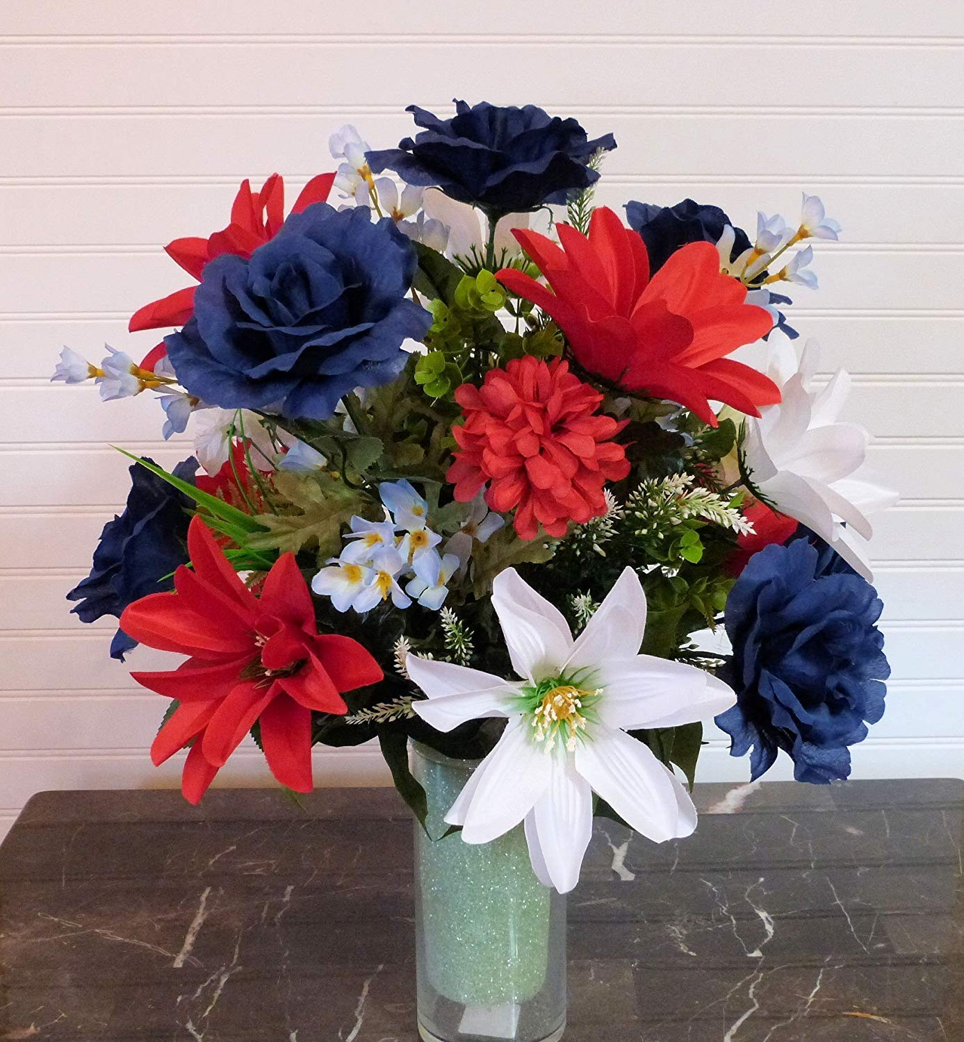 Buy Patriotic Floral Arrangement July 4th Table Centerpiece Red White Blue Silk Flowers Memorial Day Decor In Cheap Price On Alibaba Com