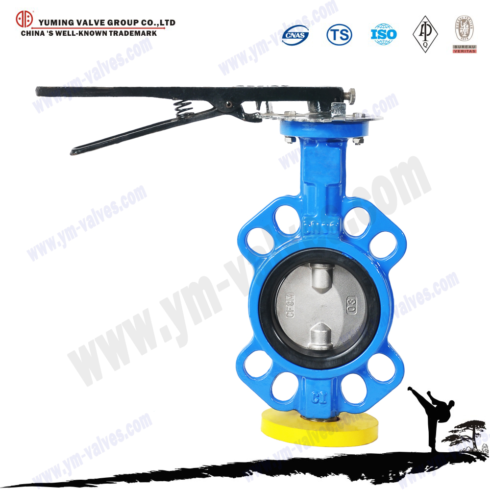 Cast iron wafer type hand lever butterfly valve double stem
