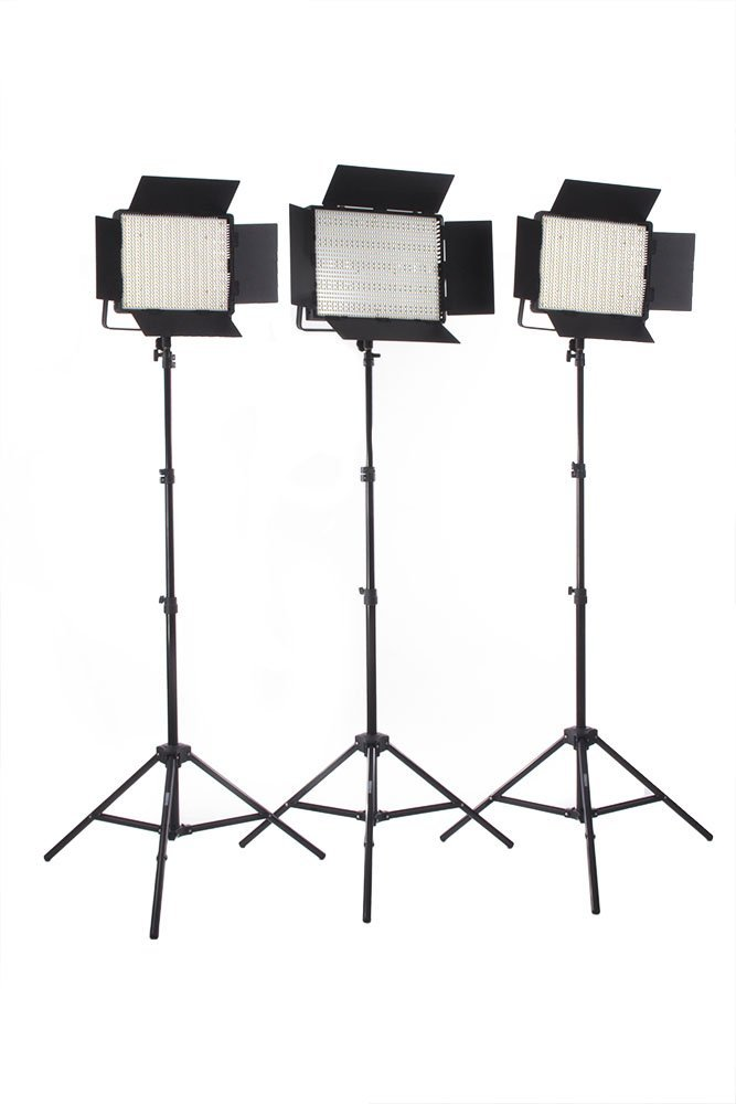StudioPRO (Set of 3) 1200 Bi Color LED Photography Lighting Panel – S-1200BN LED Light Includes Barndoor and Light Stand Kit, Photography & Video Lighting Panel Kit