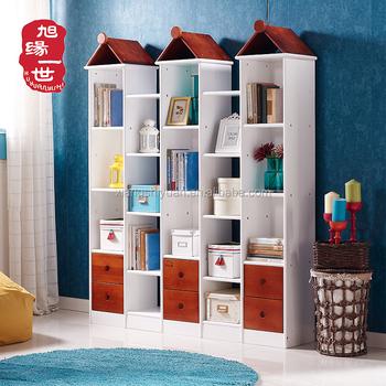 Child Taste Castle Design Bookshelf Wooden With Drawers For Kindergarten Library