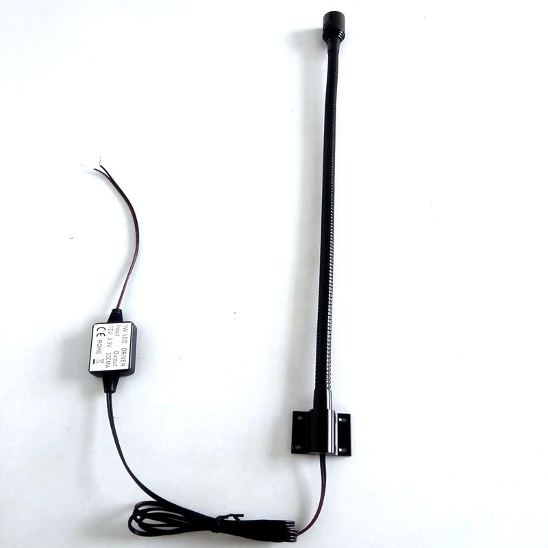 "24"" 12V DC Fixed Mount Flexible Chart Reading Light with Black Housing"