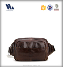 Popular mens full grain leather running waist bag