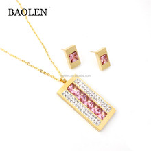 Factory Supplied Beautiful Stainless Steel Rectangle Necklaces Earrings Pink Stone Jewelry Set For Women for Sale