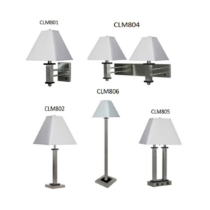New USA Iron brushed nickel hotel lamp with table floor wall lighting for hotel guest room