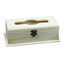 Rectangular solid pine wooden tissue box with hinged lid