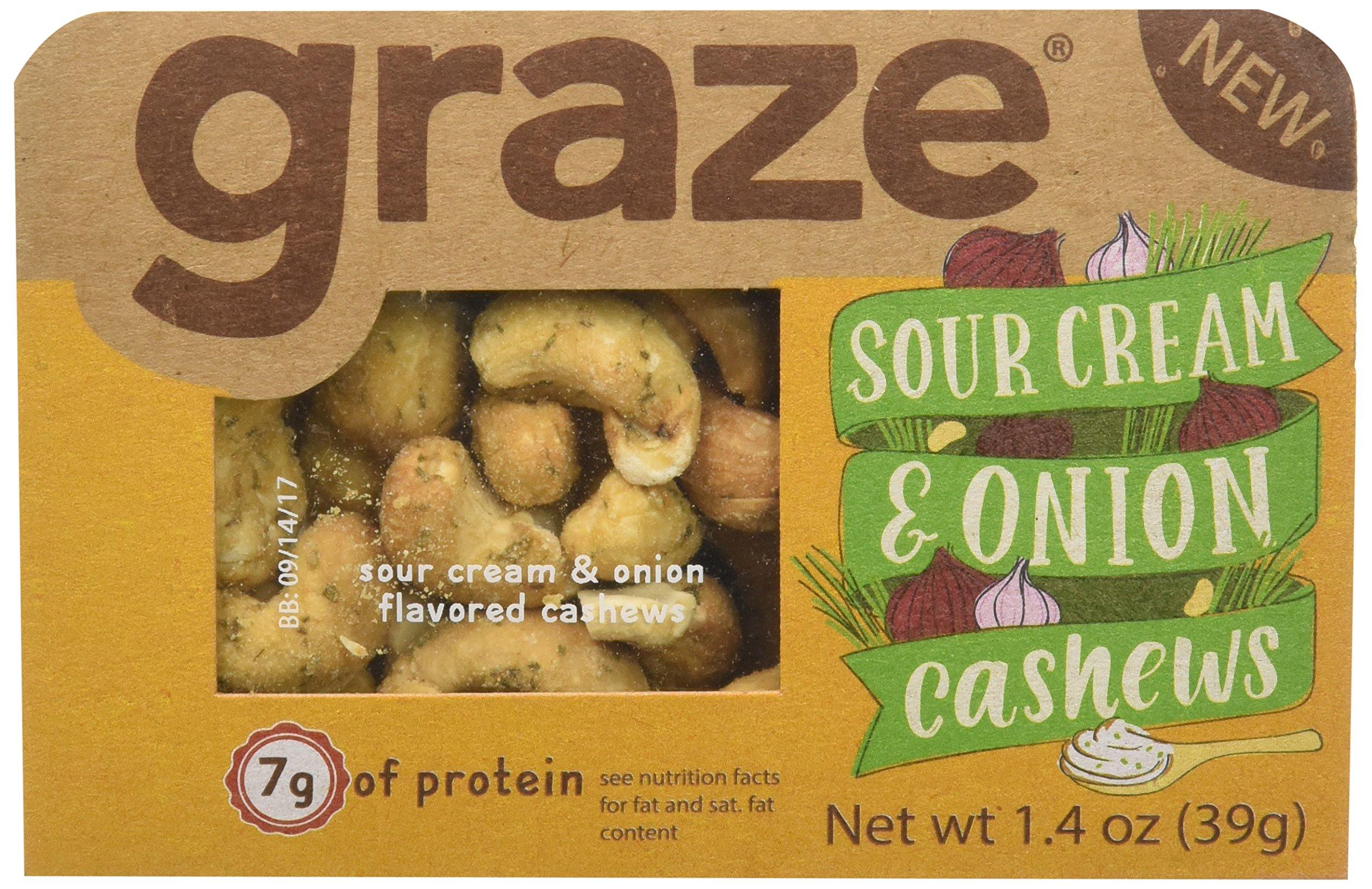 Graze Sour Cream and Onion Cashews, 1.4 Oz, 9 Count