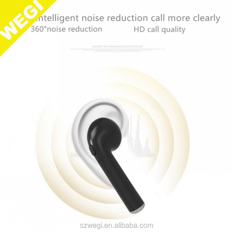 black colors i7s TWS Mini Wireless BT V4.1Earphone Stereo Earbud Headset With Charging Box Mic For All Smart phone
