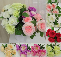 Artificial wedding flowers bouquet 7 head rose flower for table decoration