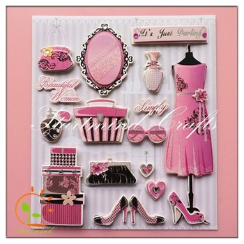 3d die cuts stickers with foil for card making
