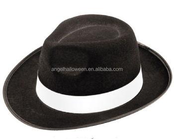 Adulto preto chapéu de feltro fedora trilby gangster al acpone TH2237 da  máfia italiana do vestido a644a521267