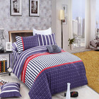 European Full Queen Size 100% Cotton Stripe Bedclothes Linen , Bedding Set With Flat Sheet Ang Quilt Cover