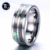 Flat 14K gold interior men's titanium wedding ring mother of pearl inlay polished tungsten ring