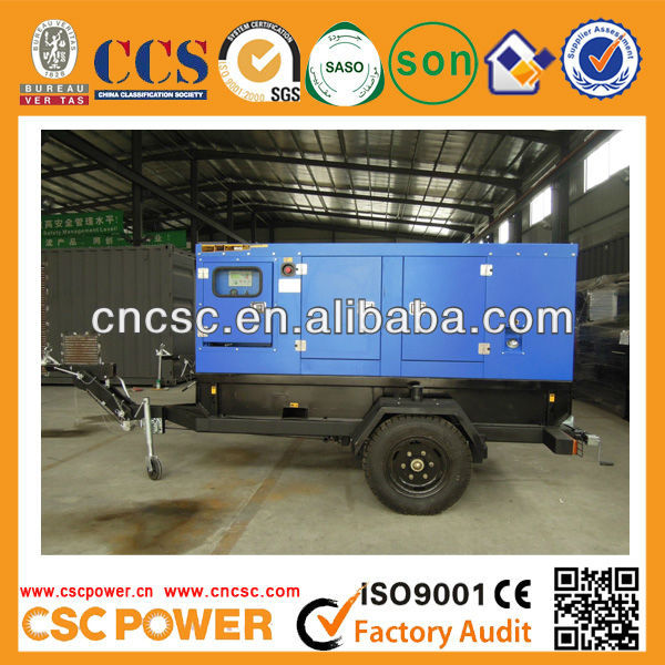 30Kva moving Trailer Generators With Soundproof Canopy