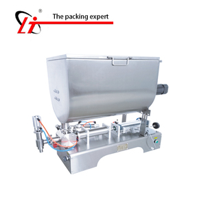hopper filler sauce filling machine mixing hopper, jar honey juice fruit pulp grease peanut butter chocolate granules filler