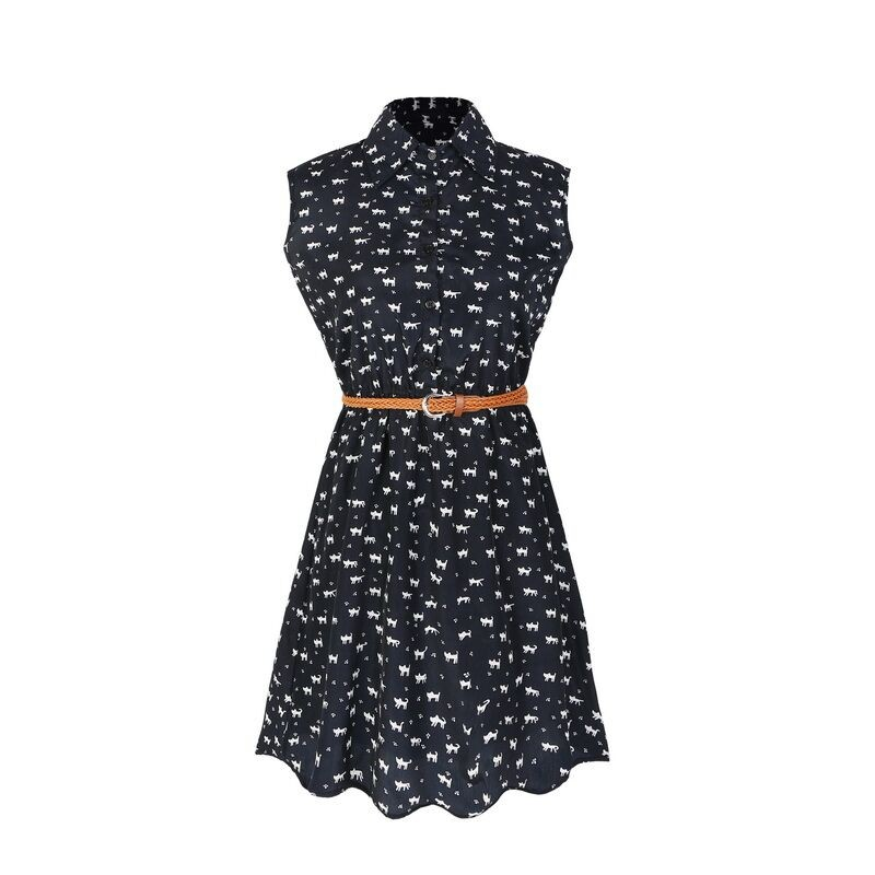 Summer Fashion Women Cat Footprints Pattern Show Thin Shirt Casual Dresses With Belt