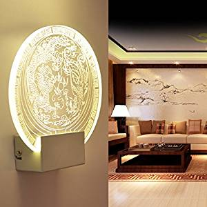 Modern decorative wall lamp Acrylic wall lamp LED creative child sleep lamp modern fashion carved wall lamp living room hallway bedroom bedside lamp Round
