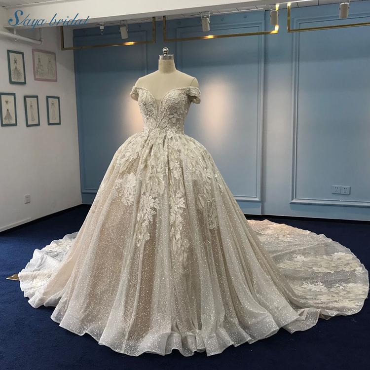 Hand made bead bondage cap sleeve tulle ball gown wedding dress ...