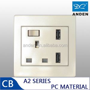 PC Material Golden Color BS USB wall Socket