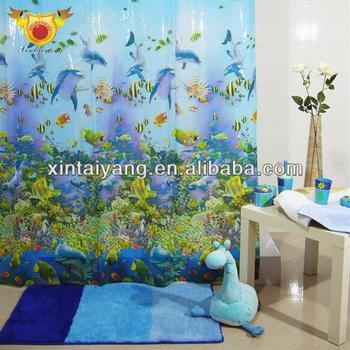 Plastic Bathroom D Bamboo Print Shower Curtain