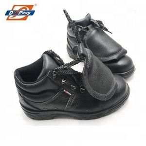 Double steel toe protect mid cut leather safety boots
