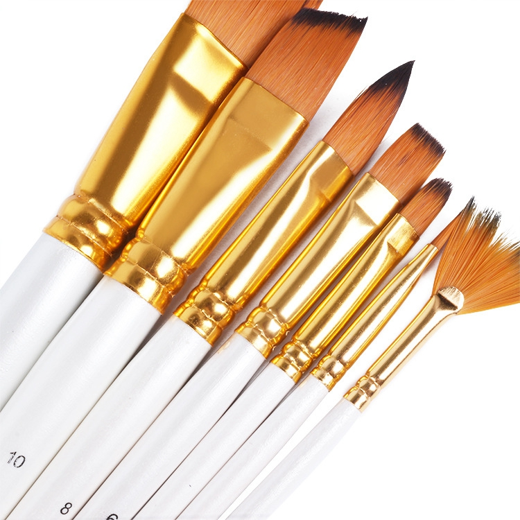 15 pcs Multi-Tip Acrylic Brush with Bicolor Nylon Hair and White Handle Package in Black Zipper Bag