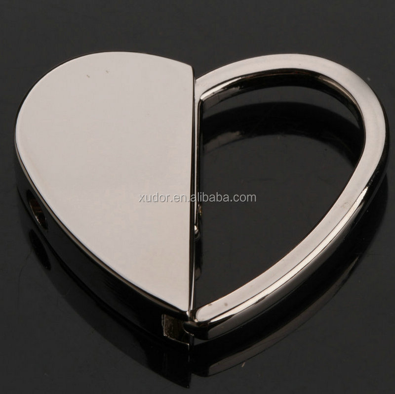 Heart shaped custom blank metal spring keychain wholesale