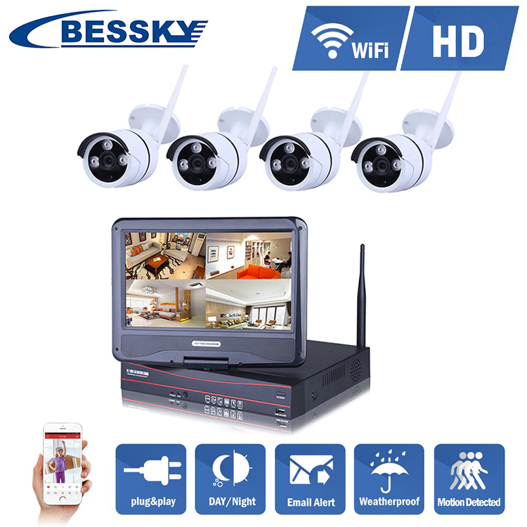 Bessky Trade Assurance ip cameras wireless nvr kit Security System support 4tb storage
