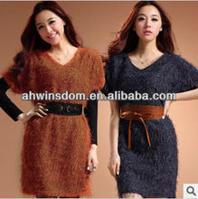 WOMEN AUTUMN FASHION KNITTED DRESS WITH HAIRY